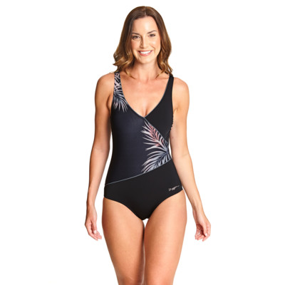 Product overview - Sunset Palms Wrap Front One Piece black/metal