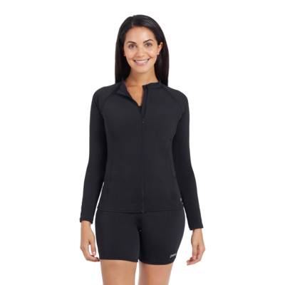 Product overview - Womens Long Sleeve Zip Sun Top black