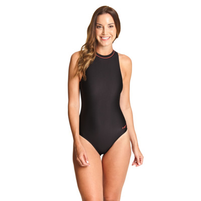 Product overview - Cable Zipped Highneck Swimsuit (Ecolast) black