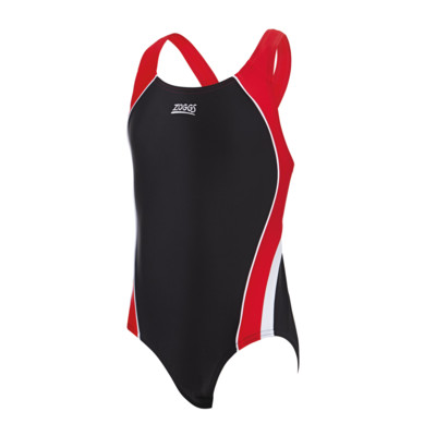 Product overview - Junior Girls Noosa Flyback Swimsuit black/red