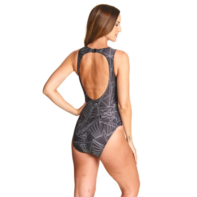 Product hover - Linear Hi Front Swimsuit black/metal