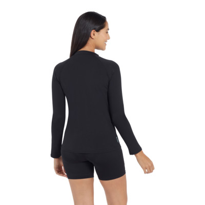 Product hover - Womens Long Sleeve Zip Sun Top black