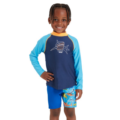Product hover - Boys Paper Shark Long Sleeve Sun Top PASH